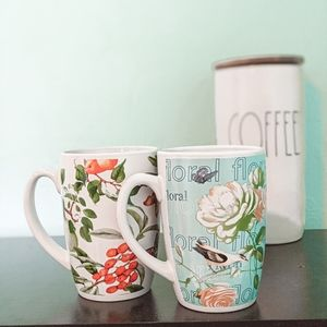 Floral and Nature Coffee Mugs Set